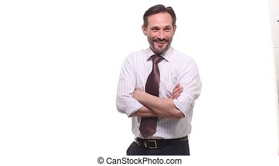 Happy businessman laughing at someone - Picture of happy and...