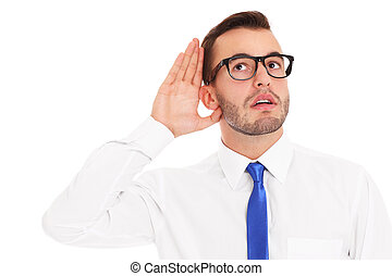 Happy businessman listening to something - A picture of a ...