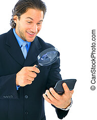 Happy Businessman Looking At Numbers