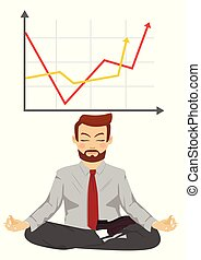 Happy businessman meditates in lotus pose over graph with positive stats. Concept of successful growth for company
