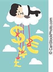 Happy Businessman on a Cloud thinking money and successful