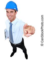 happy businessman on a construction site