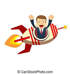 Happy businessman on a rocket ship launch
