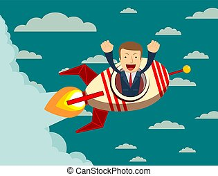 Happy businessman on a rocket ship launching to sky.