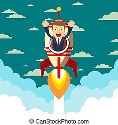 Happy businessman on a rocket ship launching to starry sky.