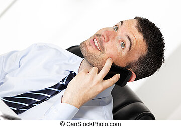 happy businessman on the phone in office