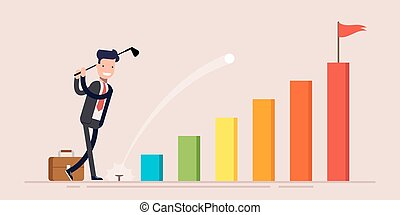 Happy businessman or manager businessman hit golf balls go to goal on business graph. Vector illustration in a flat style.