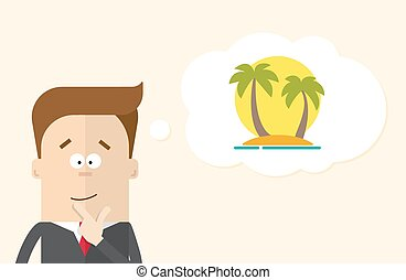 Happy businessman or manager imagines vacation on the island. A man in  business suit thinking about . Silhouette of palm trees against the sun. The  close up.