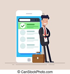 Happy businessman or manager is standing near a mobile phone with a list on the screen. Flat vector illustration.