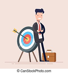 Happy businessman or manager is standing near the target. The arrow hit the target exactly. Flat vector illustration in cartoon style.