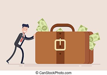 Happy businessman or manager pushes a huge suitcase or briefcase with money. The concept of theft or bribery. Vector illustration in a flat style.