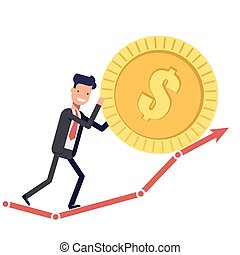 Happy businessman or manager pushes the coin up the chart. Man in a business suit increases profit. Vector, illustration EPS10.
