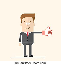 Happy businessman or manager shows a sign Thumb Up red color. Like icon.  man in  business suit and tie. Comic hand. Vector  in  flat, cartoon style.