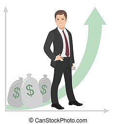 Happy businessman or manager stands near a pile of money. Profit success salary bonus. vector flat