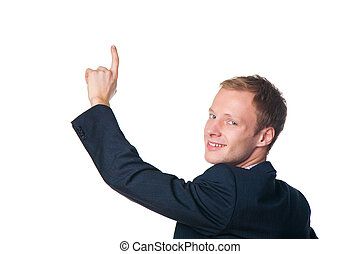 happy businessman pointing with his finger