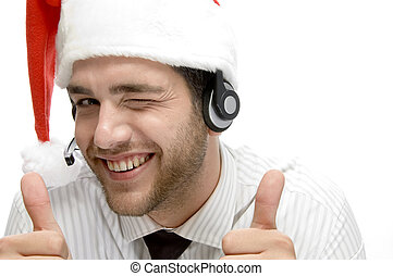 happy businessman posing with cheer up