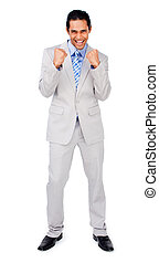Happy businessman punching the air in celebration