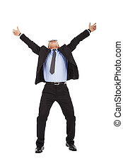 happy businessman raise arms up to celebrate