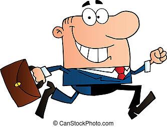 Happy Businessman Running - Businessman Running To Work With...