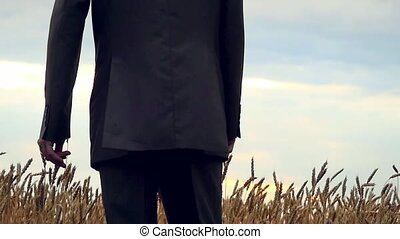 Happy businessman running on the field in slowmotion. 1920x1080