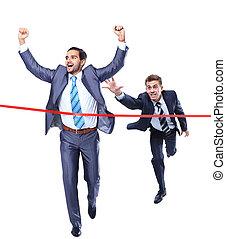 Happy businessman running through finishing line. Isolated ...