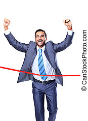Happy businessman running through finishing line. Isolated...