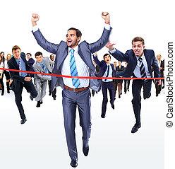Happy businessman running through finishing line isolated...