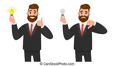 Happy businessman showing thumbs up and holding bright bulb. Unhappy business man showing thumbs down and holding bulb against isolated white background. Innovation and idea concept illustration.