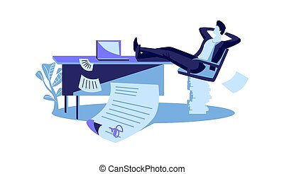 Happy businessman sits with his legs thrown on the table, a contract is successfully concluded, cartoon vector illustration