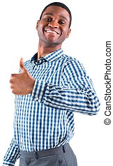 Happy businessman smiling at camera