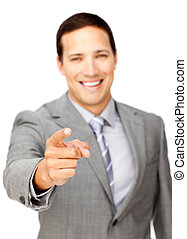 Happy businessman smiling at the camera