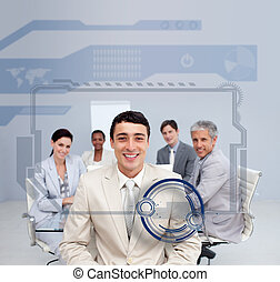 Happy businessman smiling in a meeting