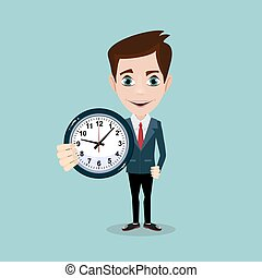 Happy businessman stand leaning to big clock. Concept of time management.