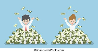 Happy Businessman Standing in a Pile of Money
