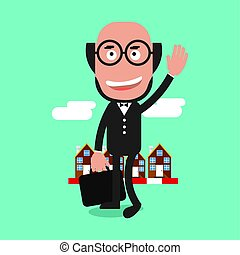 Happy Businessman Standing In Front Of A Building Roll Vector Illustration