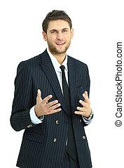 Happy businessman standing