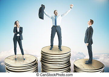 Happy businessman standing on golden coin