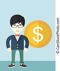 Happy businessman standing with a big dollar coin beside him.