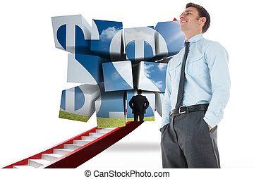 Happy businessman standing with hand in pocket against red ladder arrow graphic