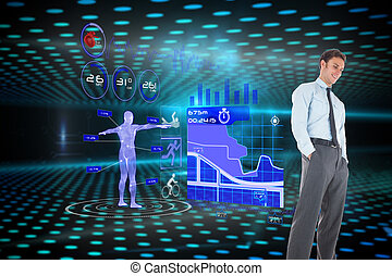 Happy businessman standing with hands in pockets against keyhole on technological glowing background