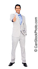 Happy businessman standing with thumb up
