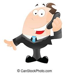 Happy Businessman Talking on Phone