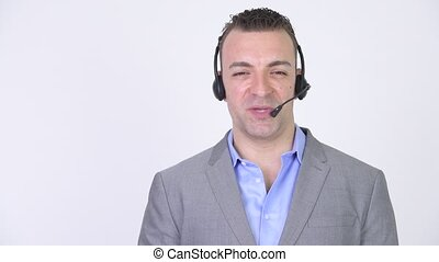 Happy Businessman Talking With Headset Call Center Support Communication