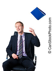 happy businessman throwing away folder with documents