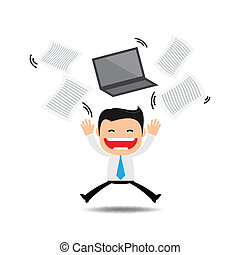 Happy businessman tossing papers,excited about something