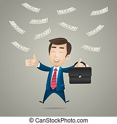 Happy businessman under dollar rain