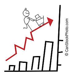 Happy Businessman Up Chart
