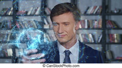 Happy Businessman Using Smartphone with New Technologies in Slow Motion. Blue Digital Hologram Augmented Reality Innovation for Business. Businessman Series 4K UHD 4096x2160 3d animation.