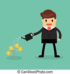 Happy businessman watering money plant.