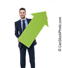 Happy businessman with a green arrow